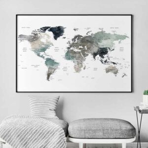 Large world map art second