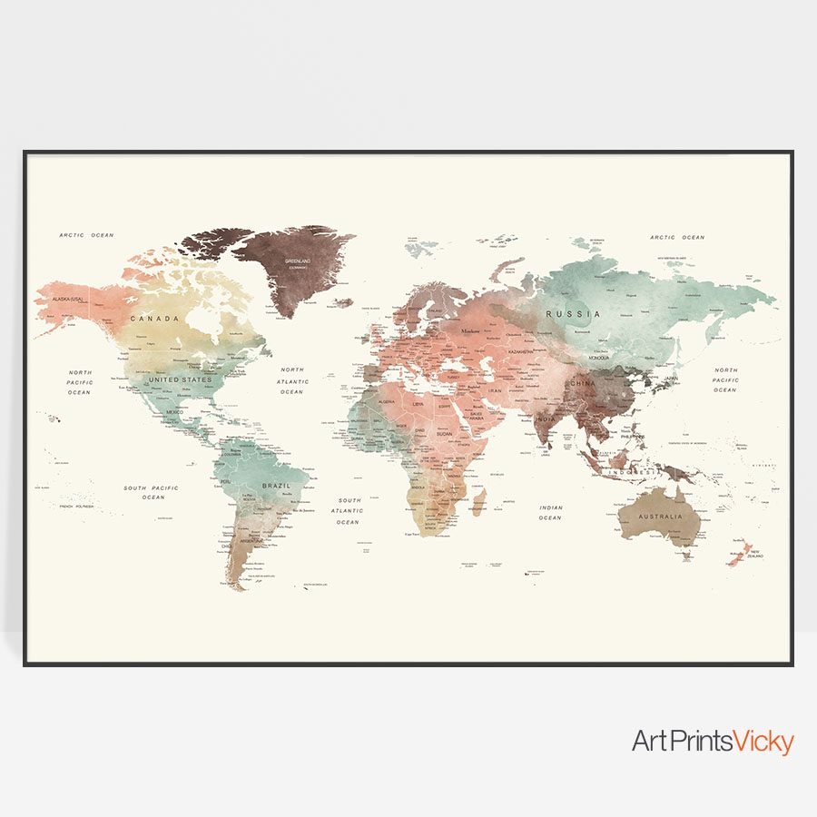 World Map Pastel Cream Large Print