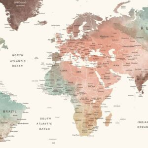 World map print large detail