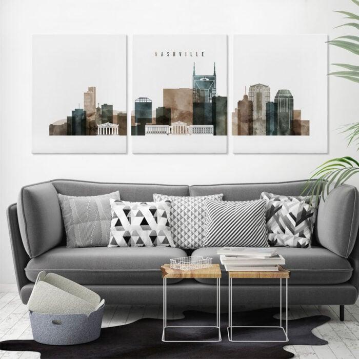 3 panel canvas city prints fourth