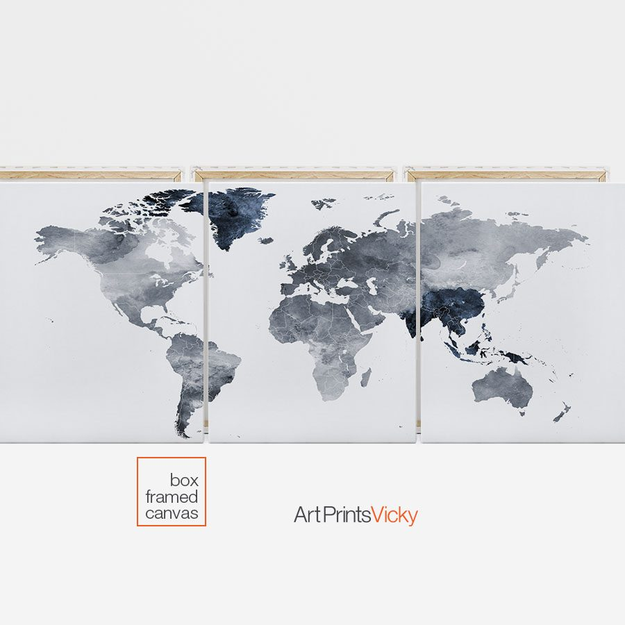 3 panel canvas world map first photo