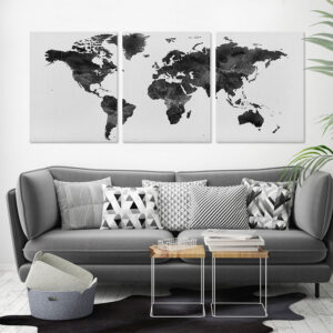 3 panel canvas world map second photo