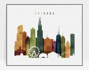 chicago skyline poster watercolor 3 photo