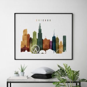chicago skyline poster watercolor 3 second photo