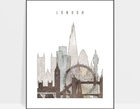 london city print drawing style