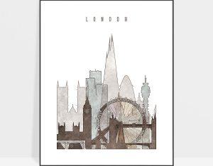 london city print drawing style