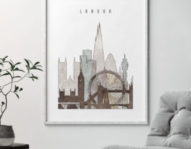 london city print drawing style second