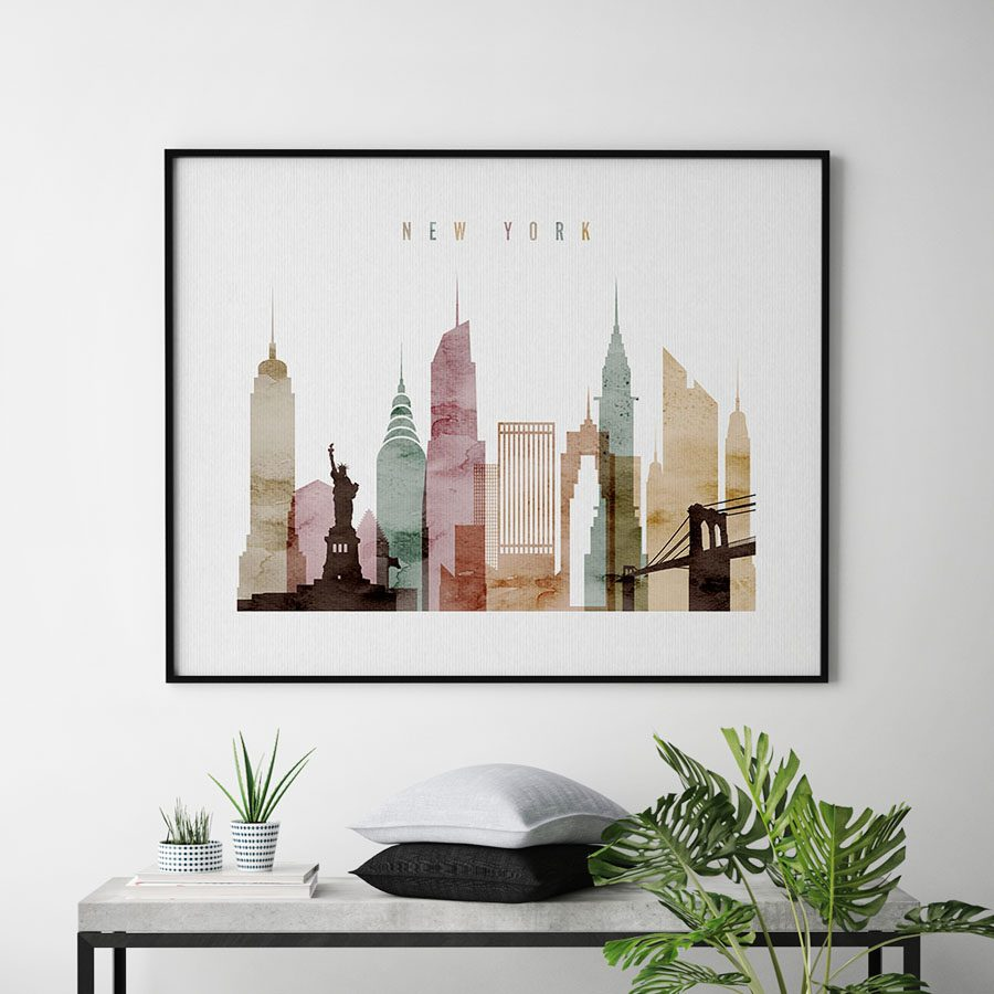 new york poster watercolor 1 landscape second