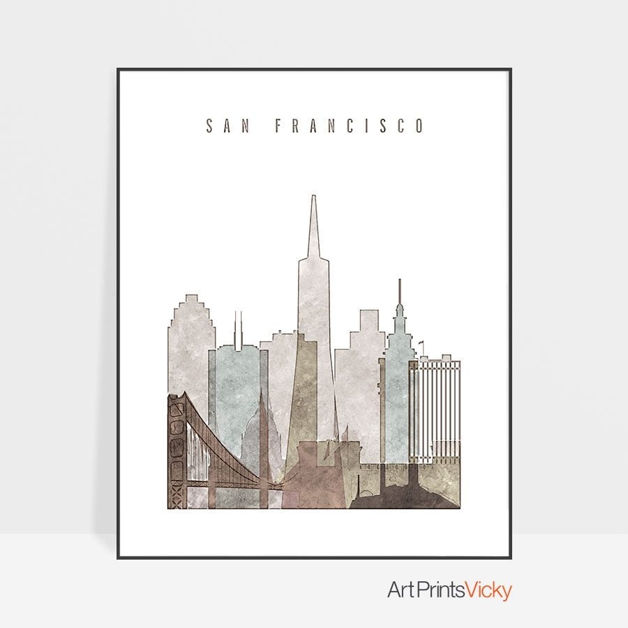 san francisco drawing poster photo