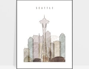 Seattle drawing poster photo
