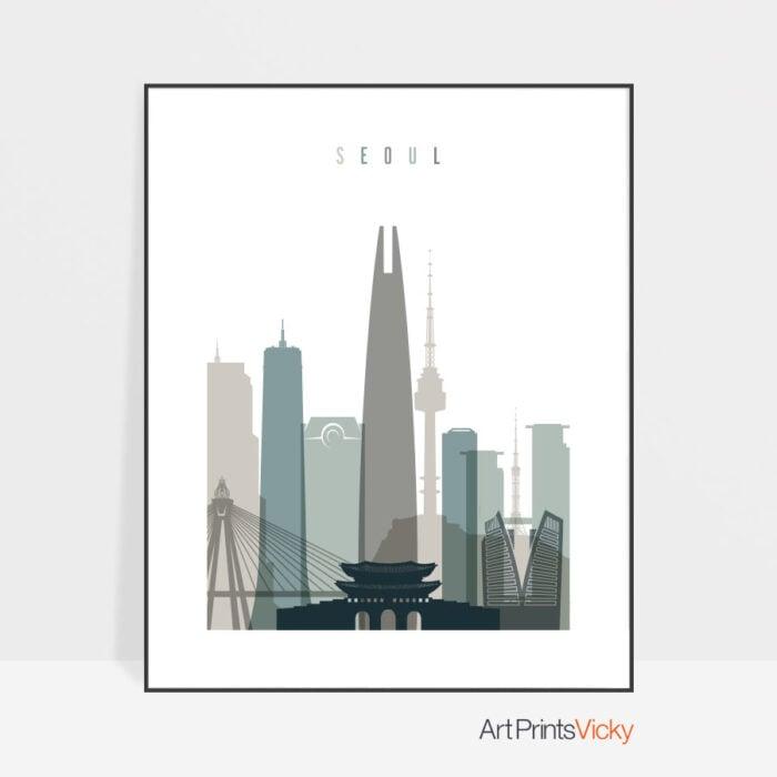 Seoul Skyline Poster Earth Tones 4