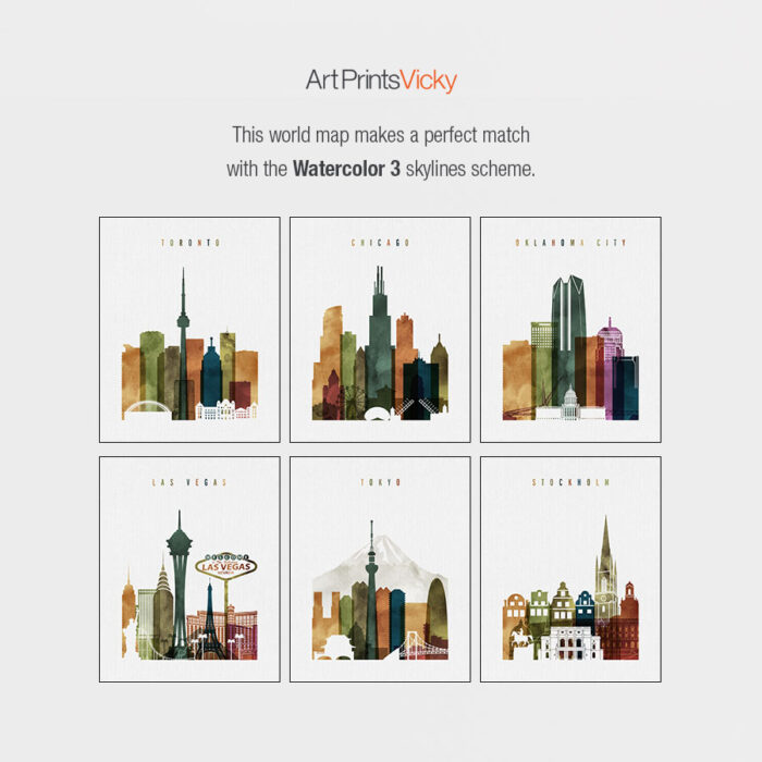 Watercolor 3 skylines map match