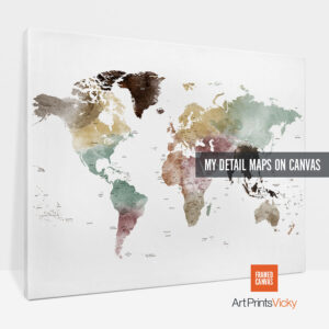 world map canvas poster detail 1