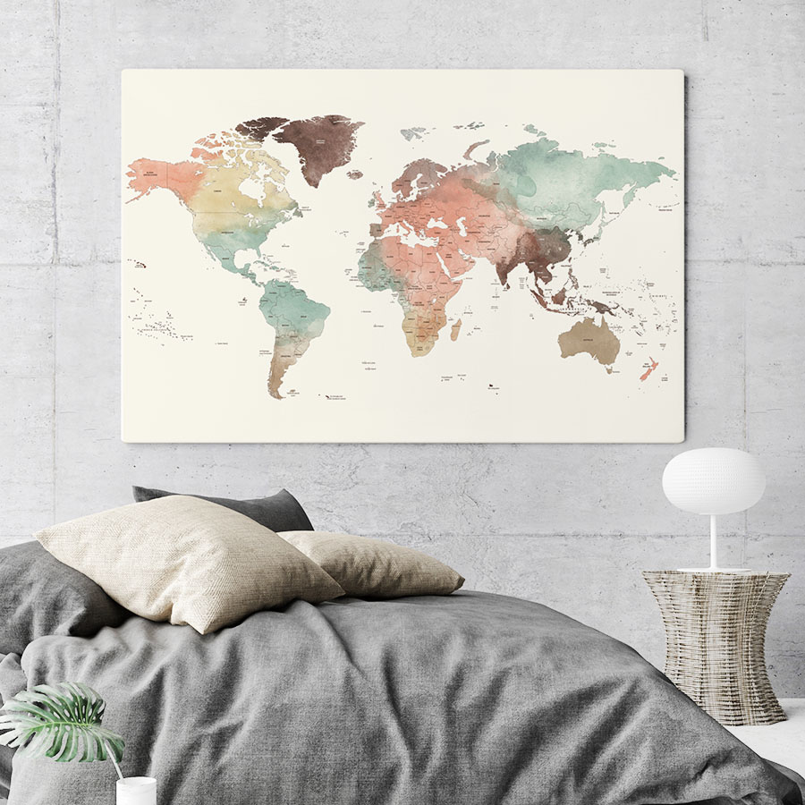 world map canvas poster detail 2