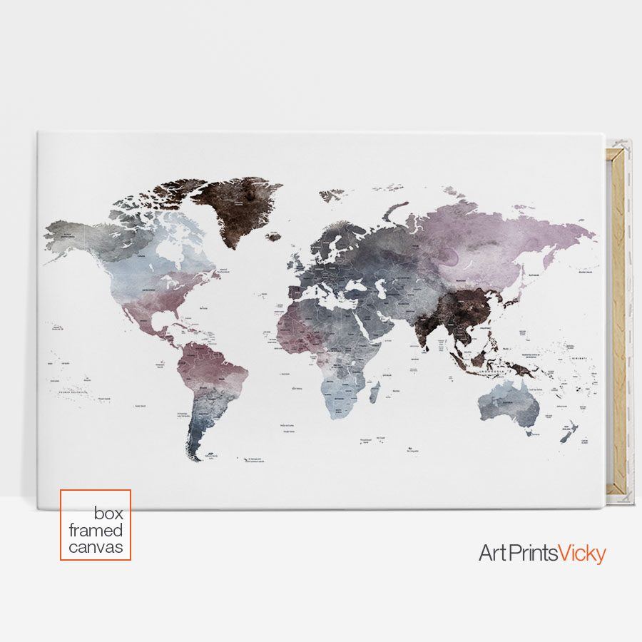 world map canvas poster detail 3
