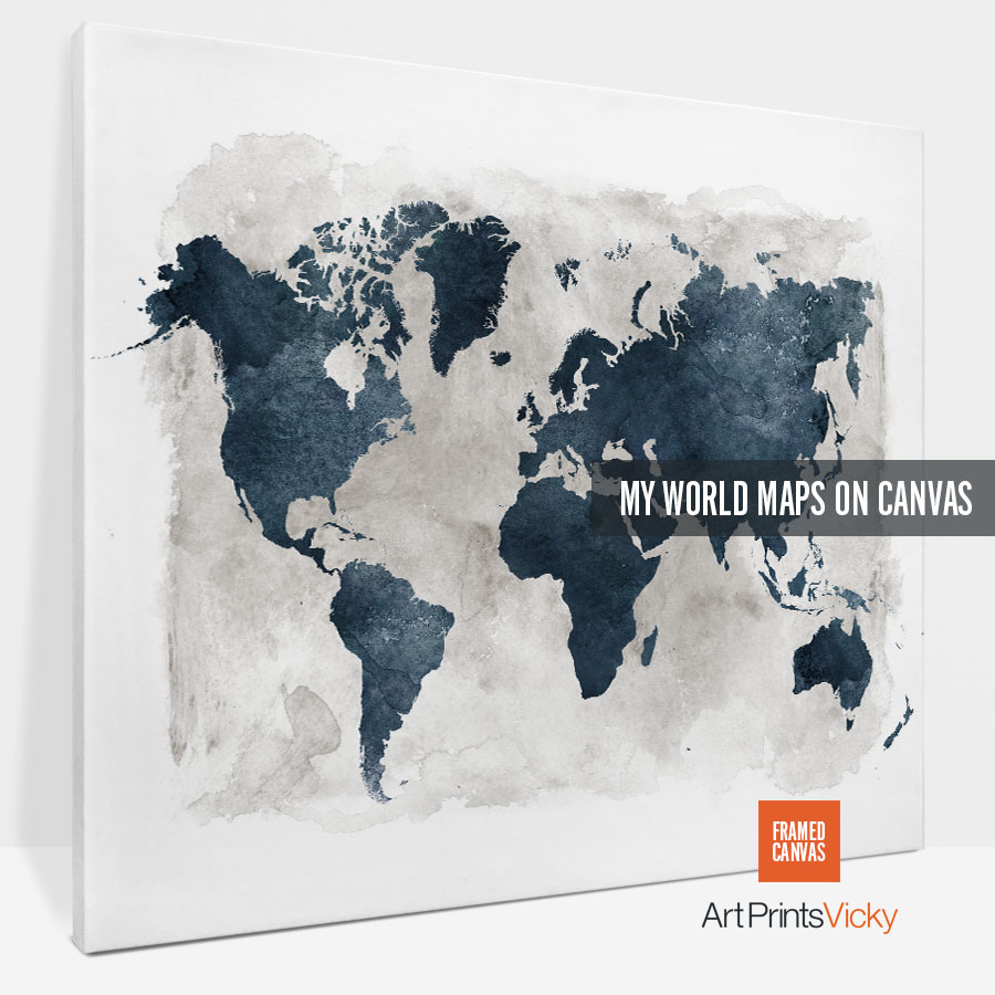 World map canvas prints | Art Prints Vicky on