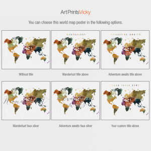 World map options watercolor 3