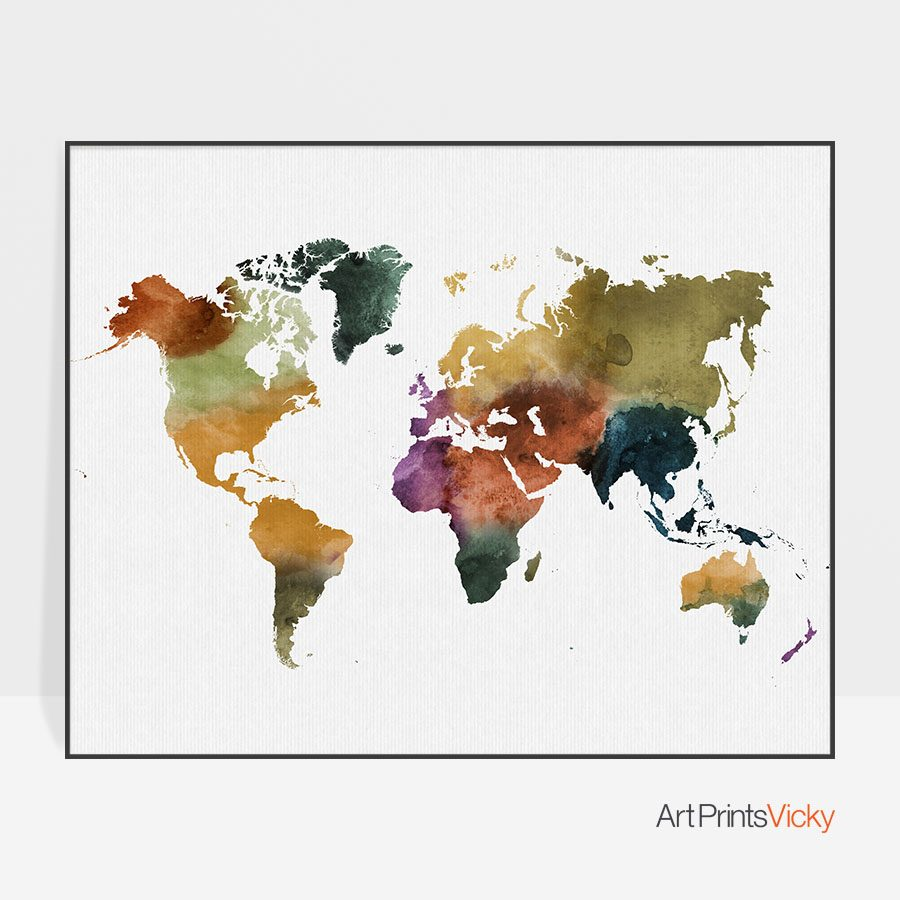 World map poster colorful watercolor 3