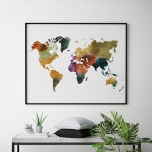 World map poster colorful watercolor 3 second