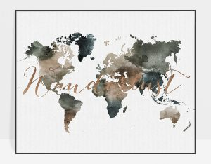 World map print watercolor 2
