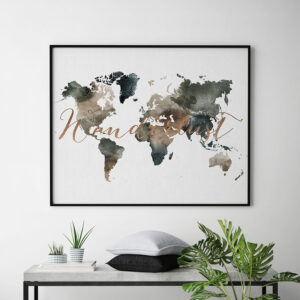 World map print watercolor 2 second