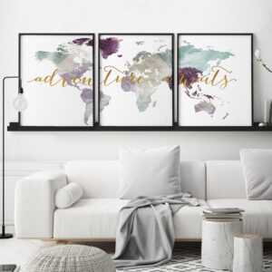 Adventure awaits map 3 prints set pastel 2 second