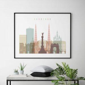 Bordeaux skyline poster pastel white second