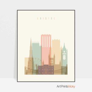 Bristol skyline poster pastel cream