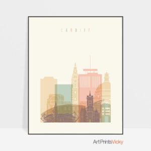 Cardiff skyline pastel cream poster