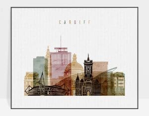 Cardiff watercolor 1 poster
