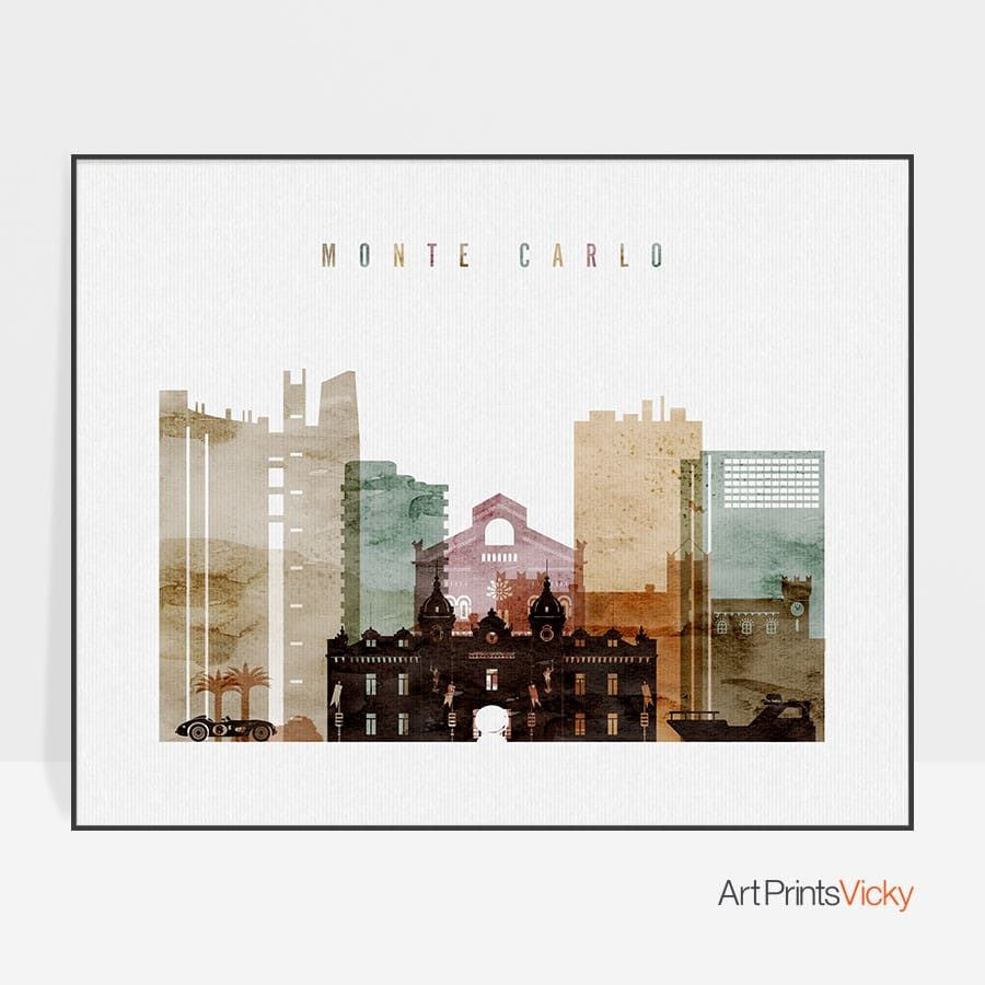Monte Carlo watercolor 1 poster