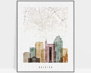 Raleigh map print watercolor 1