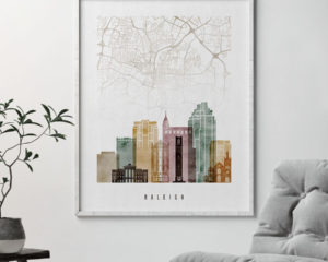 Raleigh map print watercolor 1 second