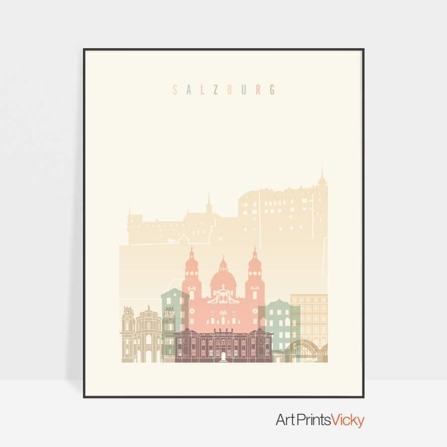 Salzburg skyline poster pastel cream