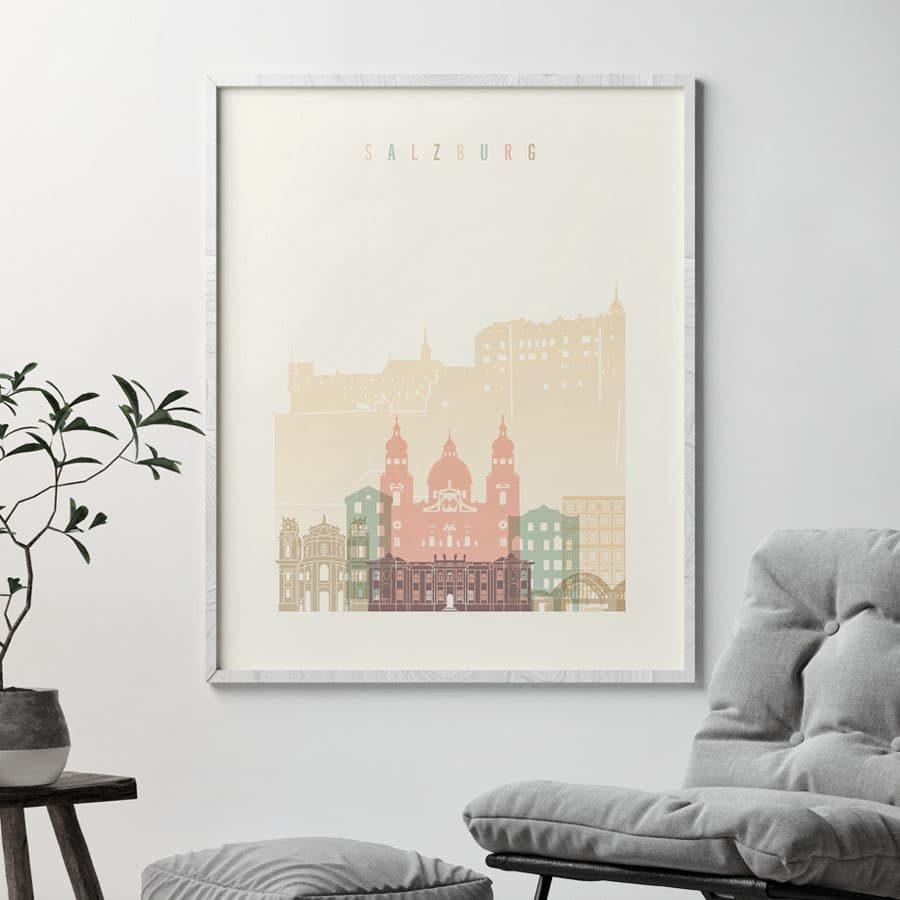 Salzburg skyline poster pastel cream second