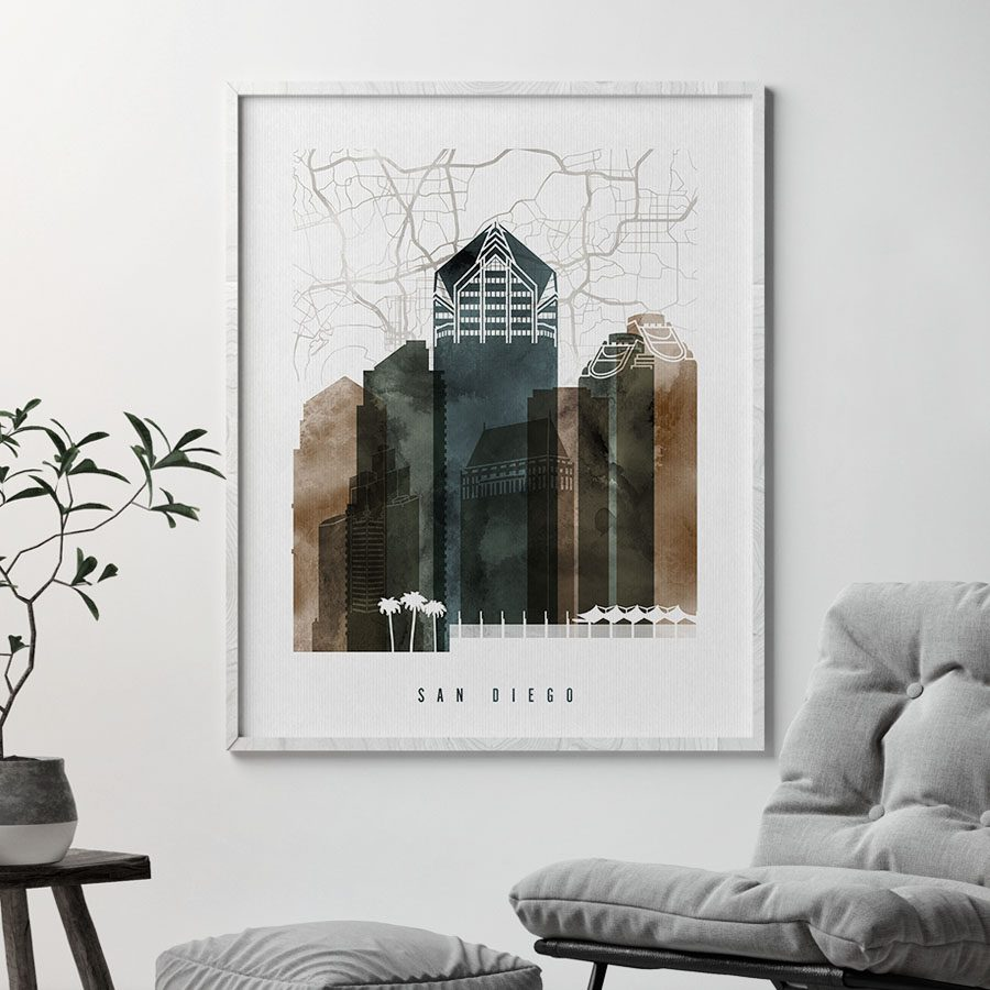 San Diego map print watercolor 2 second