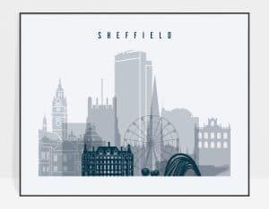 Sheffield grey blue landscape poster