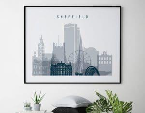 Sheffield grey blue landscape poster second