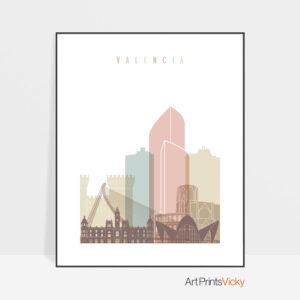 Valencia skyline poster pastel white