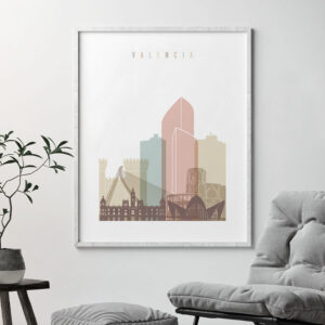 Valencia skyline poster pastel white second