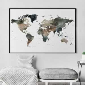 World Map Watercolor 2 detailed Print second