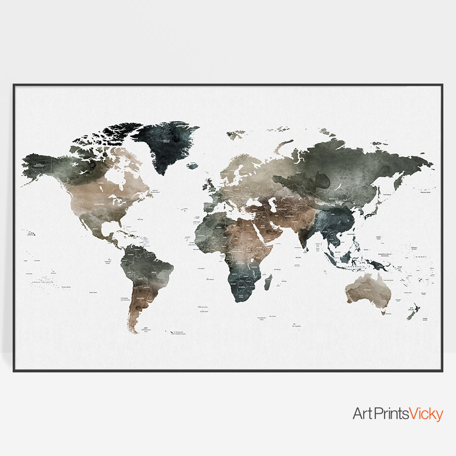 World Map Watercolor 2 Detailed Print