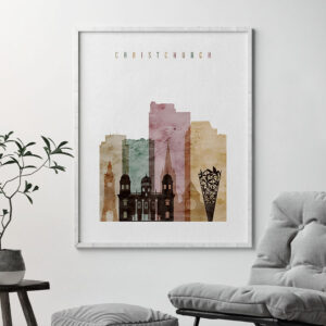 Christchurch skyline watercolor 1 poster