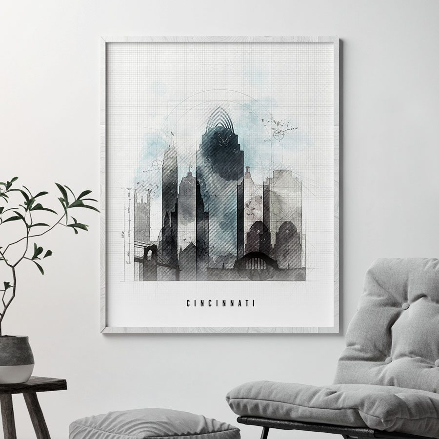 Cincinnati urban skyline print second photo