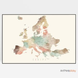 Europe detailed map poster