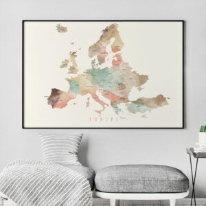 Europe detailed map poster second