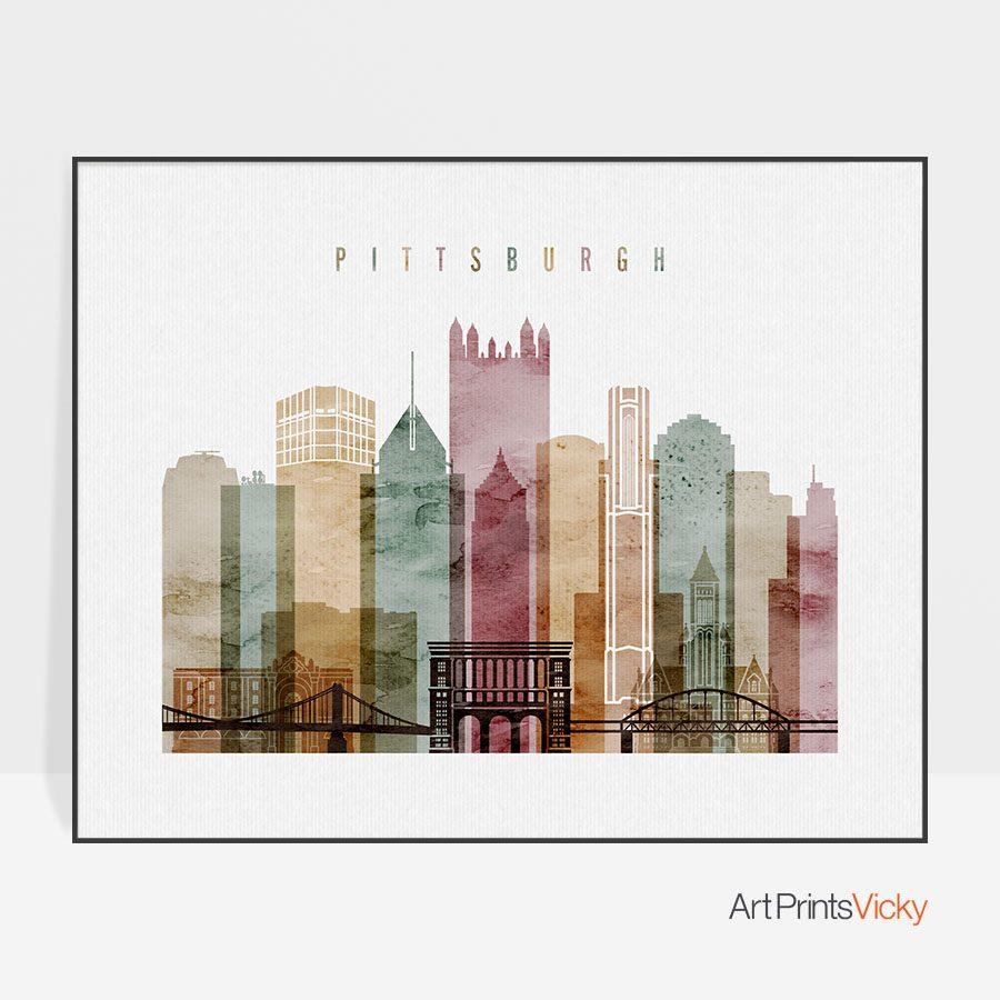 Pittsburgh watercolor wall art print