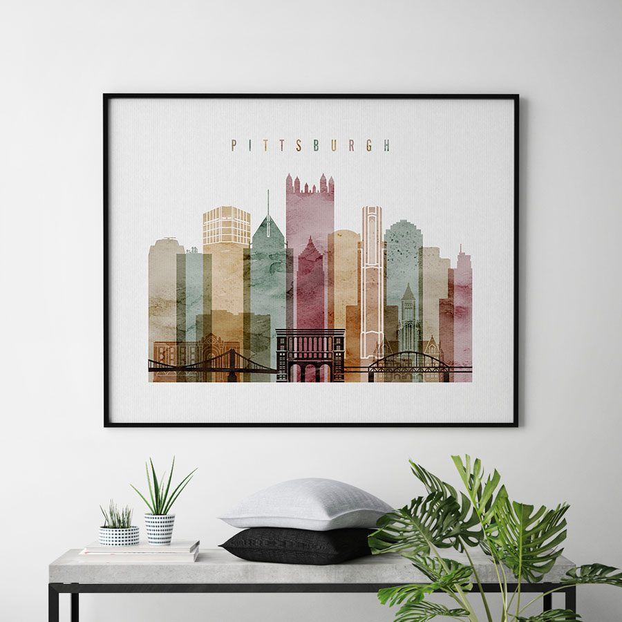 Pittsburgh watercolor wall art print second