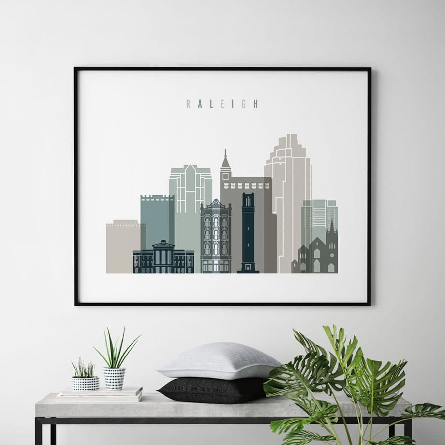 Raleigh NC print landscape earth tones 4 second