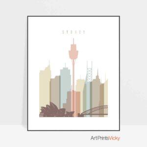 Sydney poster pastel white